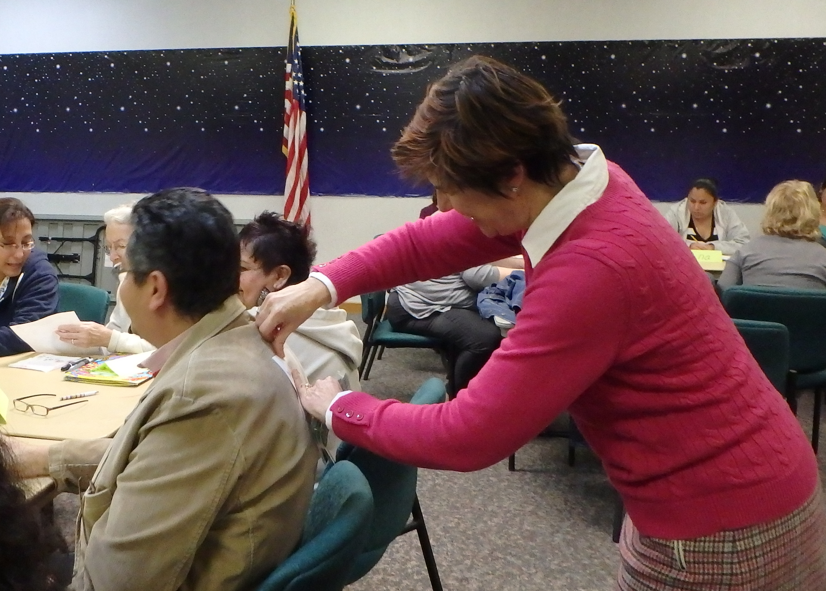 Robin Pitchford leads a game at the Clearwater East Library Conversation Class