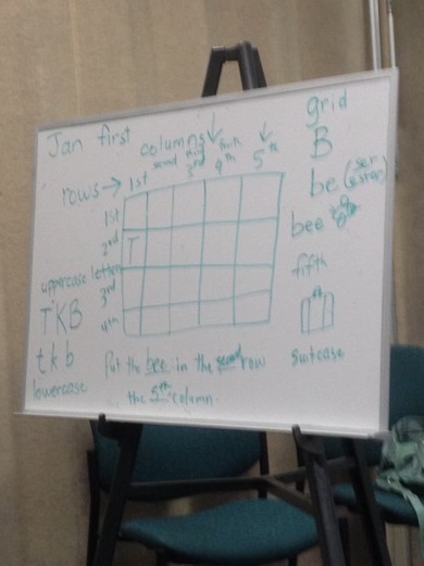 Clearwater East Conversation Class leader Jan Demers teaches ordinal numbers using a grid